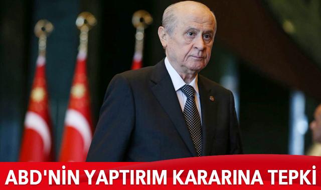 """MHP Genel Başkanı Devlet Bahçeli, ABD'nin yaptırım kararlarına ilişkin """"Trump yönetimi giderayak """"Yaptırımlar Yoluyla Amerika'nın Hasımlarıyla Mücadele Yasası"""" kapsamında, Türkiye'ye kabulü imkansız yaptırımlar açıklamıştır. ABD'nin dostluk anlayışı hasımlığa dümen kırmıştır. Bu durum skandal olmakla birlikte saygısızlık ve nezaketsizliktir"""" dedi"""